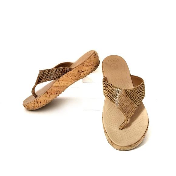 01d04fc0dfe2 CROCS Shoes - CROCS snakeskin print cork platform flip flops 6
